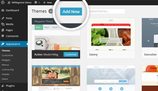 Searching for themes in WordPress