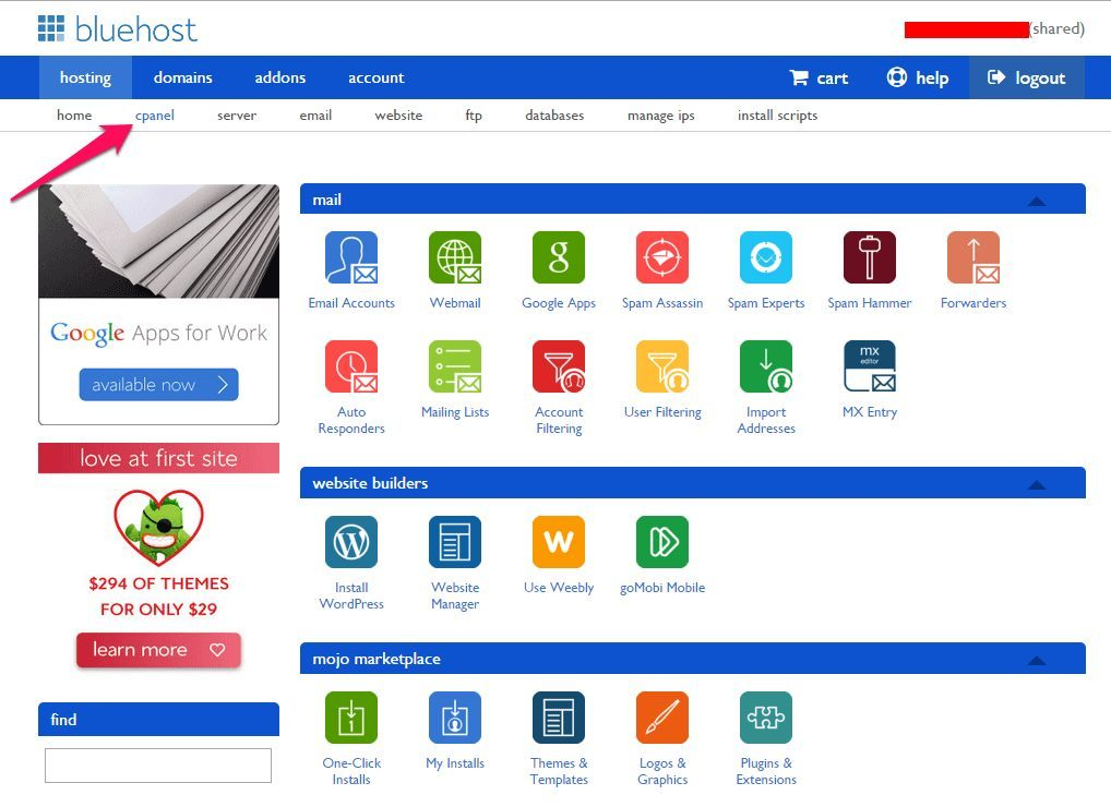 Cpanel in Bluehost